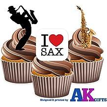 I Love Saxo, para saxofón y el Saxofón - comestible reproductor de con función de atril-up conjunto de decoradores de pasteles (12 unidades)