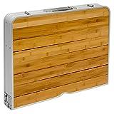 Campingtischset aus Bambus-Holz und Aluminium | Höhenverstellbarer Klapptisch und 4 Falt-Hocker | praktisches Kofferformat