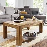 FineBuy Couchtisch Massiv-Holz Akazie 110 cm breit Wohnzimmer-Tisch Design braun Landhaus-Stil Beistelltisch Natur-Produkt Wohnzimmermöbel Unikat modern Massivholzmöbel Echtholz rechteckig