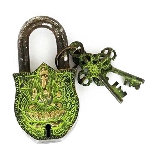 Zap Impex® Dekoratives Ganesh graviertes latón Macizo con pátina Na