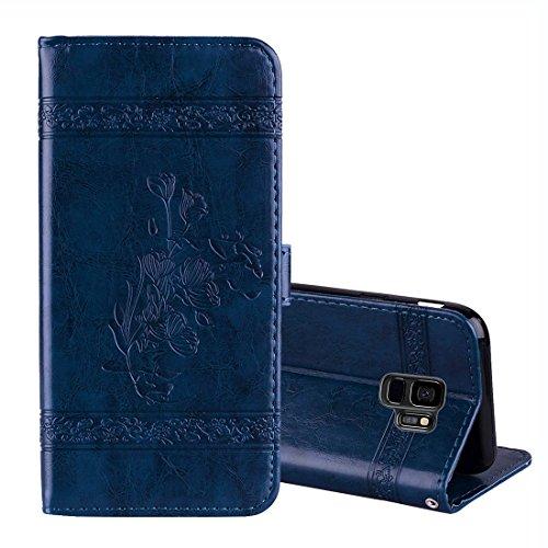 JIALUN- case Für Samsung Galaxy S9 Vintage Öl Wachs Textur Geprägte Horizontale Flip Ledertasche mit Halter & Kartensteckplätze & Brieftasche & Bilderrahmen & Lanyard Beau et Pratique -