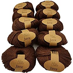 Hilo cáñamo de lana color marrón oscuro
