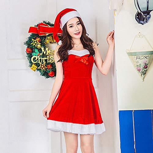 nn kostüm Damen Einheitliche Leistung Kostüm weibliche Erwachsene Schal Weihnachtsfeier Weihnachtsmann Kleid Kostüm Erwachsene Weihnachtsfeier Cosplay Kostüm ()
