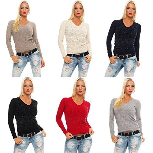 10869 Fashion4Young Damen Feinstrick-Pullover Pulli V-Ausschnitt Strickpullover Strick Shirt Strass Dunkelbau
