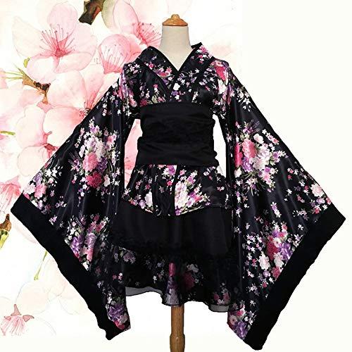 Lolita Kimono Cosplay Kostüm mit Rüschenrock, Blume Sakura Druck Kimono Robe Yukata Japanisches Kleid, Frauen Cosplay Lolita Kostüm Japanisches Kimono Anime Kostüme L,XXL (Japanische Yukata Kostüm)