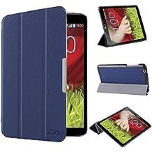 tinxi® PU piel funda para LG G Pad 8.3 V500 Tablet 8,3 pulgadas (21.08cm) protectora Cover Tablet Notebook Case con funcion de soporte con el azul oscuro fondo