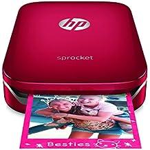 HP Sprocket-Impresora fotográfica portátil (impresión sin tinta, Bluetooth, 5x 7.6cm impresiones) color rojo