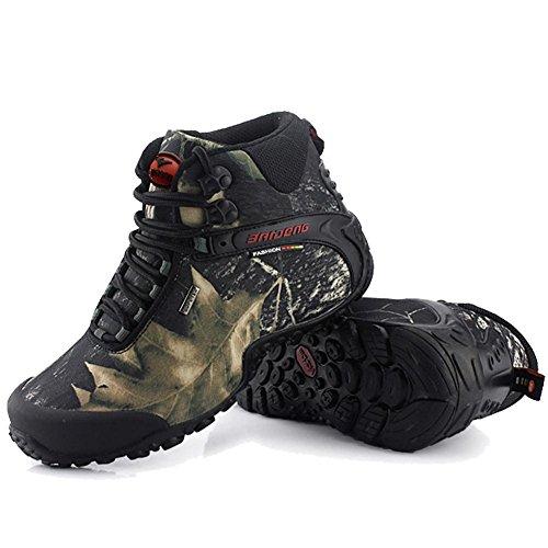 maschi Scarpe da uomo Scarpe da trekking all'aperto Scarpe da passeggio Aiuto elevato Vera pelle Suola in gomma impermeabile Scarpe singole slittata indossare Scarpe sportive da esterno Scarpe stringa Gray