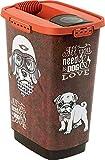 Rotho 4001910533 Aufbewahrungsbox für Tierfutter aus Kunststoff (PP) mit Hundemotiv - Volumen 25 Liter, M, braun/orange