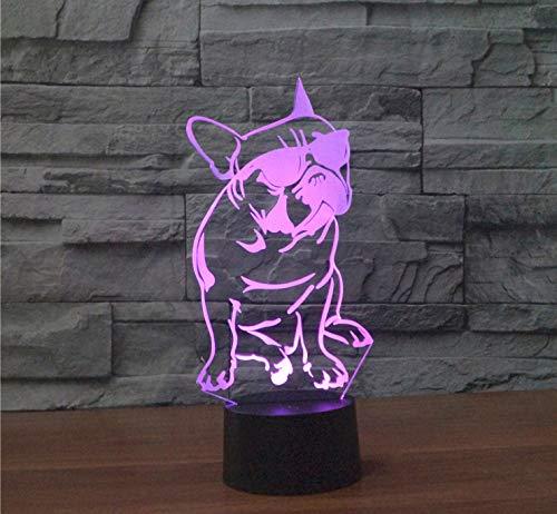 Hund Mit Sonnenbrille 3D Lichter, Bunte Visuelle Lichter, Atmosphäre Kleine Nachtlichter 24,5 X 11,2 X 8,7 Cm Lila
