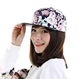 Brolux(TM) 1 PC Women Baseball Cap Flower Pu Leather Flat Brim Snapback Caps Summer Hats For Female Cap Brim Straight High Quality Hip Hop [Pink ]