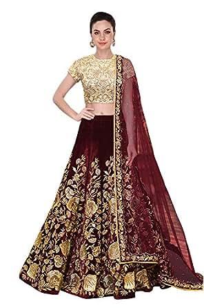 A.R.Sundaram Fashion Women's Taffeta Silk Velvet Lehenga Choli (ARS-81_Maroon_Free size_semi stitched)