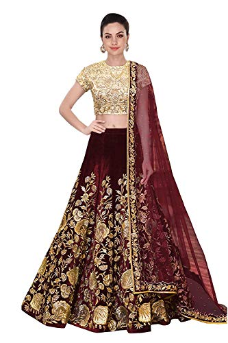 A.R.Sundaram Fashion Women\'s Taffeta Silk Velvet Lehenga Choli (ARS-81_Maroon_Free size_semi stitched)