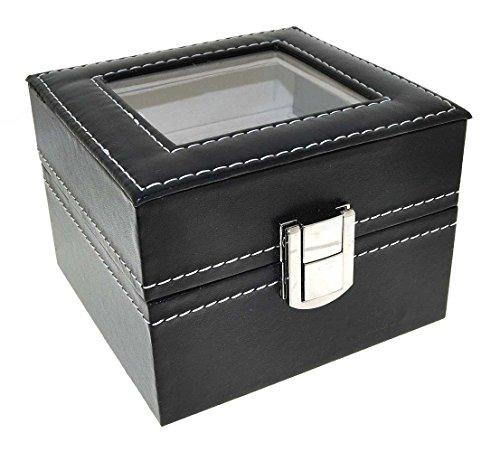 Uhrenbox Leder für 2 Uhren Sammelbox Reisebox schwarz