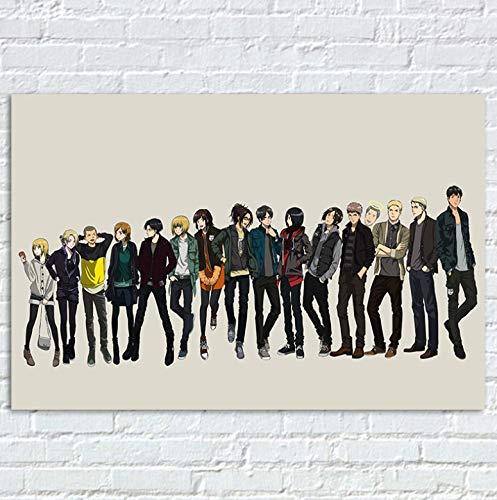 Angriff auf Titan Poster, Anime Prints Poster, Annie Leonhart Armin Arlert Bertolt Hoover Manga Zeichen Leinwand Kunst Wand Dekor 40X60Cm ohne Rahmen