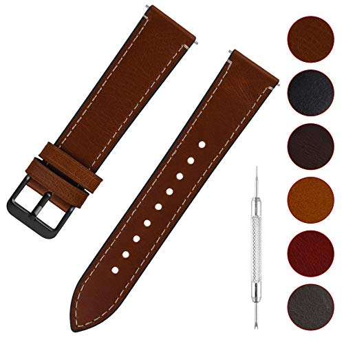 Fullmosa Uhrenarmband Leder mit Schnellverschluss, Wax Oil Serie in 20mm,Dunkelbraun+Rauchgraue Schnalle