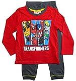 Transformers Schlafanzug Jungen Pyjama Lang (Rot-Grau, 104-110)