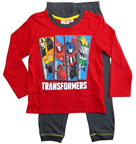 Transformers Schlafanzug Jungen Pyjama Lang (Rot-Grau, 98-104) (Transformers Schlafanzug Jungen)