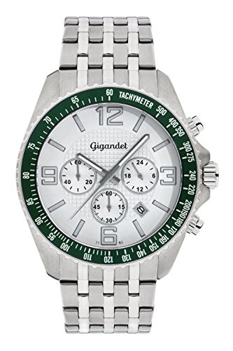 Gigandet Fast Track Men's Analogue Wrist Watch Quartz Chronograph Silver Green G12-002