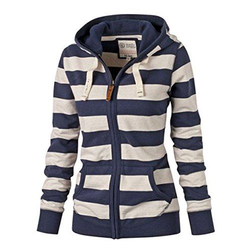 Donna Felpa con Cappuccio Manica Lunga Pullover a Righe T-Shirt Top Slim Jacket Autunno Inverno Bianco Blu S - 4XL Kootk Blu