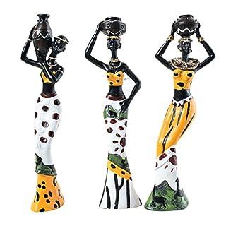 Baoblaze 3 Stück Afrikanerinnen Dekofigur Skulptur Ornament - Gelb