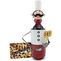 BRUBAKER Porte-bouteille de vin - Chef de cuisine / Cuisinier - Métal - Carte de vœux incluse - Idée cadeau originale - Objet décoratif