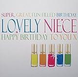 WHITE COTTON CARDS Grußkarte/Geburtstagskarte für Mädchen, mit englischsprachiger Aufschrift, Motiv: Neonfarbene Nagellack-Kollektion, Weiß