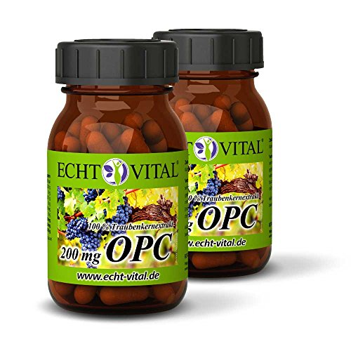 ECHT VITAL OPC Traubenkernextrakt | OPC aus Frankreich | 120 Kapseln OPC - 2 Gläser | 100% natürliches OPC | Je Kapsel 200 mg reines OPC (HPLC) | Vegan, ohne Zusatzstoffe, hergestellt in Deutschland