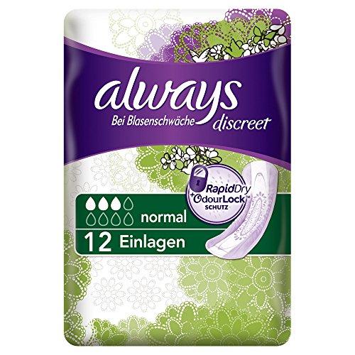 Always Discreet Inkontinenz Einlagen Normal Bei Blasenschwäche, 2er Pack (2 x 12 Stück)