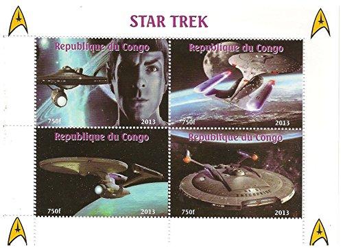 Star Trek TV-Show postfrisch Briefmarkenbogen mit Bildern von Spock und dem Raumschiff Enterprise / Kongo / 2013 (Sci-fi-tv-shows)