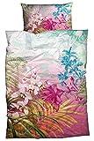 sister s. Satin-Bettwäsche Ibis Einfach Hip Exotische Blüten und Palmblätter in ausgefallener Farbkombination 135x200 Pink