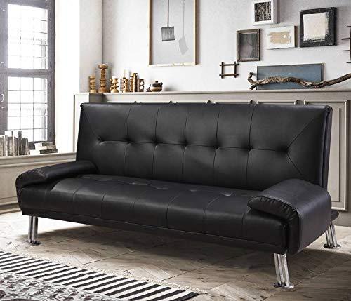 Gstore divano letto ecopelle nero reclinabile cuscini 3 posti doppio