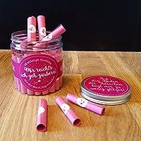 Glitzerbox mit vielen lustigen witzigen Sprüchen & Botschaften Geschenkidee Valentinstag Frau Freundin
