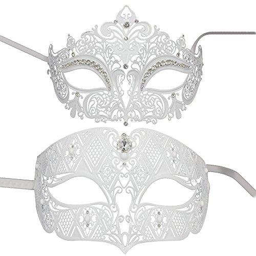 hen Masquerade Maske Set Luxus Style Princess Party Maske weiß (Halloween-kostüme Für Schwarz Und Weiß Paar)