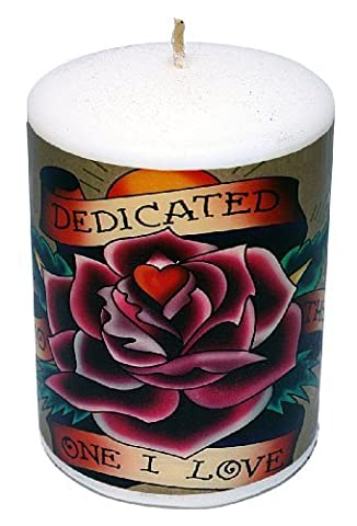 Ed Hardy Candle Unscented 3 by 4 Pillar, Dedicated by Ed Hardy