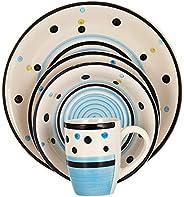 Harmony Stoneware Dinner Set of 16, Blue, W 28.4 x H 27.4 x L 18.4 cm