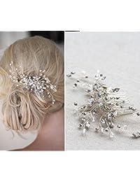 DHE08 - Accesorios para novia, diseño de flores en 3D con cristales, color plateado