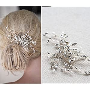 Handgefertigt Braut-Accessoire Haar Stück 3D Blume mit Kristalle silber Haircomb dhe08