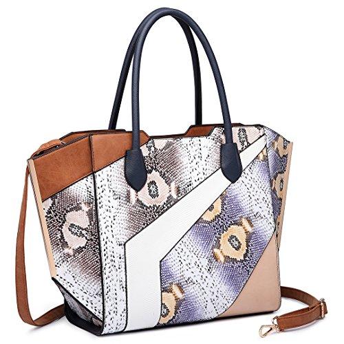 Miss Lulu Damen Klassische Handtasche Winged Schultertasche Groß Umhängetasche Taschen 6637 Brown