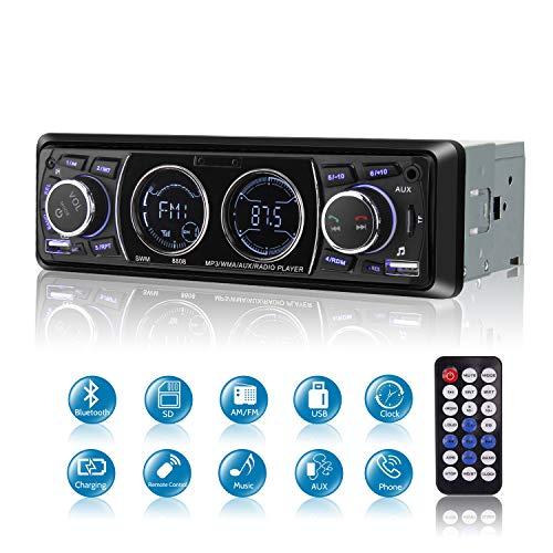 Poste Radio Voiture Bluetooth USB, MEKUULA 1 Din Autoradio FM Radio 4x60W Poste Audio avec LCD Microphone Intégré Soutient USB/SD/AUX/Bluetooth/Télécommande