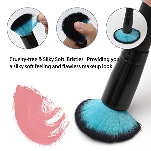 Qivange Kabuki Makeup Brush Set, Foundation Eyeshadow Blush Concealer Powder Highlighter Makeup Brushes(10pcs, Black with Blue Hair)