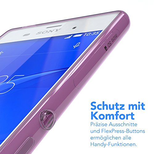 "Sony Xperia Z3 Hülle - EAZY CASE Slimcover ""Clear"" Handyhülle - Schutzhülle als Smartphone Case in Schwarz / Anthrazit Clear Lila"