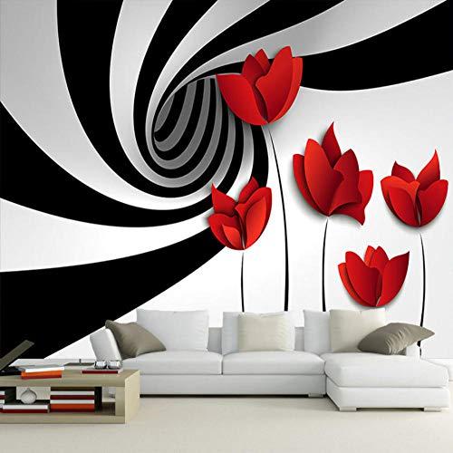 Finloveg Papier Peint Mural Personnalisé Noir Et Blanc Rayé Fleur Moderne 3D Abstrait Géométrique Espace Mural Salon Papier Peint-400X280Cm