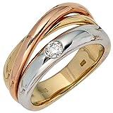 JOBO Damen-Ring 585 Gold Gelbgold Weißgold Rotgold 1 Diamant-Brillant 0,15ct. Größe 58