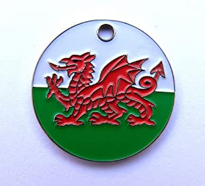 Just Pets Enamel Dog Tag Gift, Welsh Dragon Design, Personalised, Engraved Free from Phoenix Engraving & Gifts