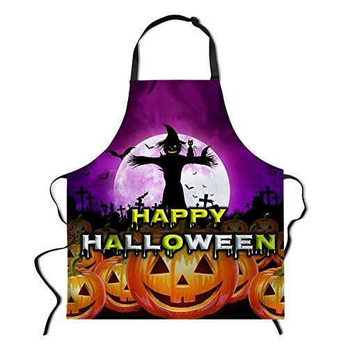 spArt Halloween-Schürze, Scarecrow mit schwarzer Katze und Kürbis-Laterne Weinlese-Kostüm-Halloween-Party-Geschenk-Küche BBQ - Funky Hexe Kostüm