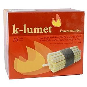 K-Lumet encendedor o chimenea Contenido 16 piezas encendedores de barbacoa horno – Encendiendo y sin encender, Ambientalmente amigable, limpio y sin olor