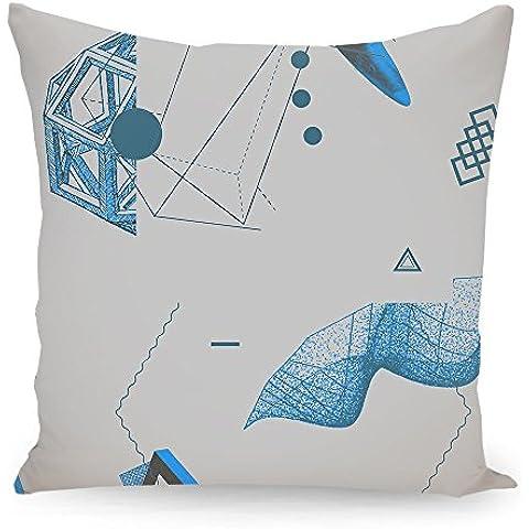 """Cuscino 50x50 cm Geometria illustrazione pastello """"Oggetti 09"""" blau - Cuscino - stampato fronte e retro - Cuscini """"Geometria illustrazione pastello"""" di """"Andreas Jarner"""""""