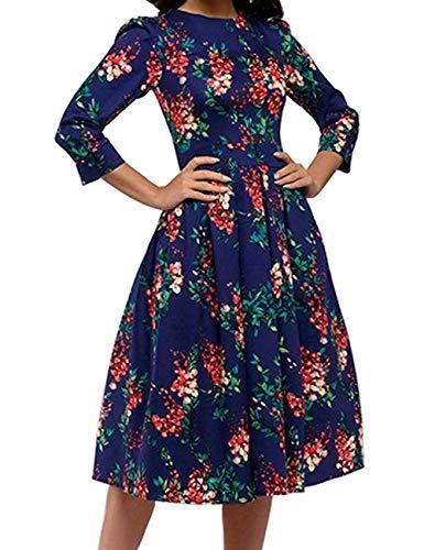 JOJJJOJ Abito da Donna Vintage Anni '50 con Abiti da Cocktail, Abiti Vintage retrò, Elegante Abito da Sera a Mezza Manica 3/4 (Colore : Navy Blue, Size : L)