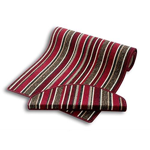 Stufenmatte | rot gestreift | Qualitätsprodukt aus Deutschland | GUT Siegel | kombinierbar mit Teppich Läufer | 65x23,5 cm | halbrund | einzelne Matte